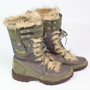 The North Face military style winter boot faux fur